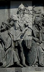 """Гедимин на памятнике """"1000-летие Руси"""" в Великом Новгороде."""