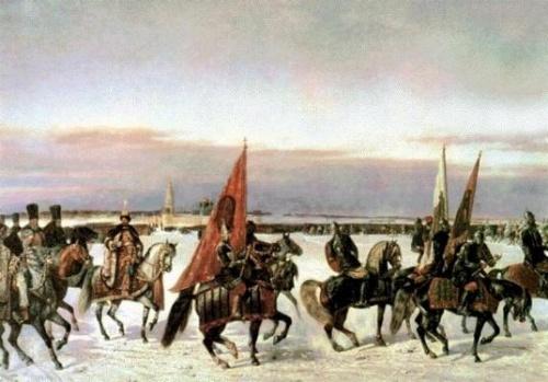 Выезд царя Алексея Михайловича на смотр войск в 1664 году (фрагмент). Н. Е. Сверчков, 1864