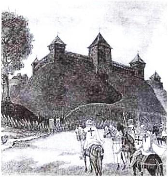 В. Стащенюк. Крестоносцы осаждают Новогородский замок, 1990 г.