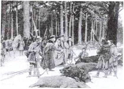 В. Навозов. После охоты в Беловежской пуще в 1409 г. 1903 г.