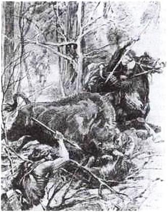Н. Самокиш. Ягайло, поражающий зубра. 1903 г.