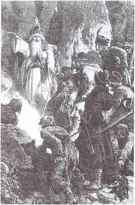 М. Э. Андриолли. Жрец Лиздейко объясняет Гедимину его сон. 1882 г.