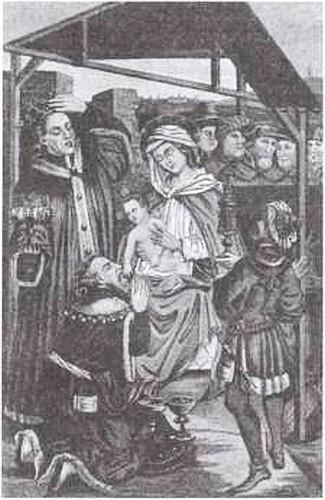Изображение Ягайлы, Казимира Великого и Людовика Венгерского на иконе «Поклонение трех королей». 1475 г. Гравюра XIX в