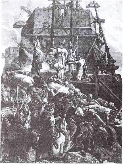 М. Э. Андриолли. Строительство замка Гедимина в Вильно. 1882 г