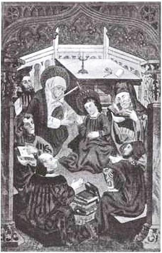 Ягайло среди ученых. Гравюра XIX в. с иконы «Юный Христос в храме». 1418 г.