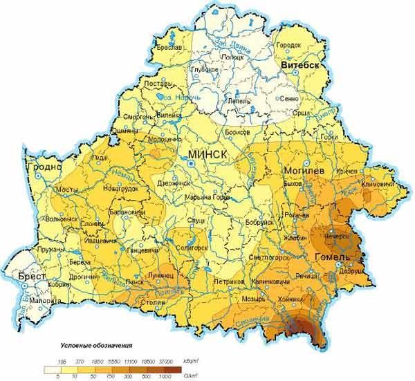 Чернобыль. Последствия в Беларуси. Карта радиоактивного загрязнения Беларуси