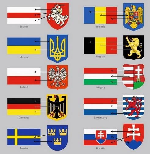 Бело-красно-белый флаг образован от герба Пагоня