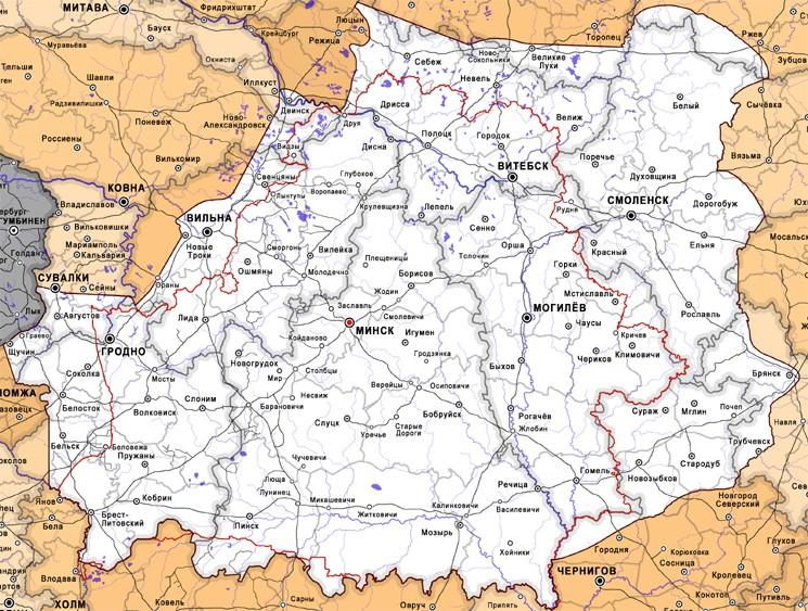 Карта Беларусской Народной Республики - государства под Бело-красно-белым флагом